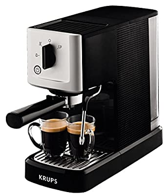 Krups XP3440 Espresso machine 1L 2cups Black,Silver coffee maker - coffee makers (freestanding, Manual, Espresso machine, Ground coffee, Caffe latte, Cappuccino, Coffee, Espresso, Black, Silver) by Krups