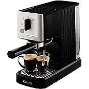 Krups XP3440 Espresso-Automat Calvi, 1,460 W, 1,1 L Fassungsvermögen einer der kompaktesten Siebträger-Automaten auf dem Markt, schwarz / edelstahl
