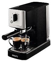 Espresso acabado: Palanca Presión de la bomba: 15 bar Café molido Vapor Boquilla Capacidad agua: 1,1 l Tanque de agua extraíble Consumo de energía: 1460 W Krups Thermoblock: Calentamiento rápido del agua (aprox 40 s) Color negro y acero Peso:...