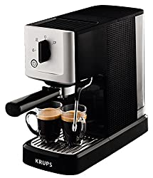 Krups XP3440 Espresso-Automat Calvi, 1,460 W, 1,1 L Fassungsvermögen einer der kompaktesten Siebträger-Automaten auf dem Markt, schwarz/edelstahl