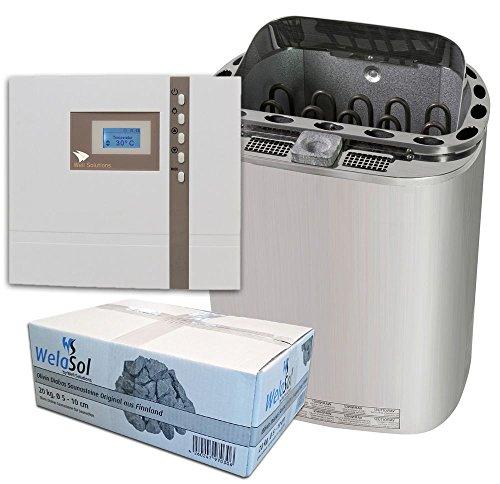 Well Solutions® Sauna Ofen Scandia Combi 9 kW Steuerung Econ H1, Steine