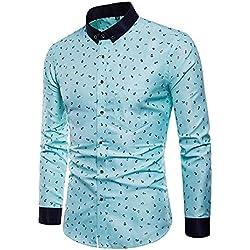 IYFBXl Camisa de algodón de Talla Grande para Hombre - Cuello de Camisa de Lunares, Verde Claro, XXXL