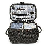 Jeteven 2 personen Picknickkorb Weben Bambuskorb Porzellan Geschirr Set 46 x 32 x 23