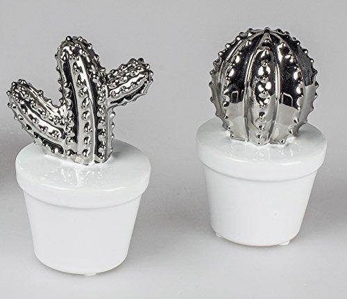 Formano Deko Kaktus Kakteen Paar Steingut weiß Silber - Dekofiguren für die Wohnung (14 cm)