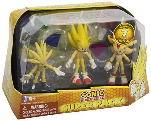 Sonic the Hedgehog Super Pack Action Figures Super Silver, Super Sonic, and Super Shadow, by Sonic The Hedgehog