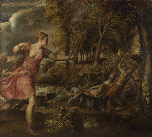 Das Museum Outlet–Tizian–Der Tod des Aktaion, gespannte Leinwand Galerie verpackt. 29,7x 41,9cm