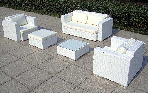 Baidani Gartenmöbel-Sets 10c00042.00002 Designer Rattan Lounge-Garnitur Calypso, 1 2-er-Sofa, 2 Sessel, 1 Hocker, 1 Couch-Tisch mit Glasplatte, braun - 5