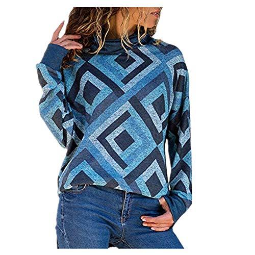 iHENGH Neujahrs Karnevalsaktion Damen Herbst Winter Bequem Lässig Mode Frauen beiläufige Lange Hülsen geometrische Rollkragenpullover Pullover Pullover