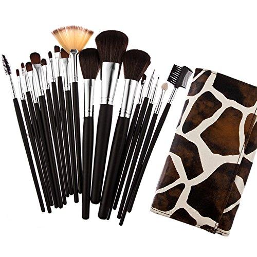 Davidsonne Lot de 18 pinceaux de maquillage professionnelle Sac Fashion Girl (Girafe)