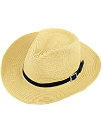 Sombrero de cowboy Hombres Gorra Visera Large borde anti-UV protección solar sombrero de sol Pesca Playa Viaje Vacaciones en paja Panamá Bob Sun Cap Fedora Trilby plegable con Chin Strap, beige, talla única