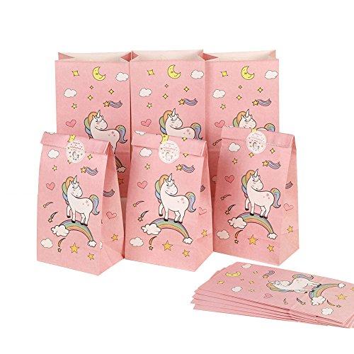 Aytai 24pcs Einhorn Papier Geschenktüten mit Thank You Aufkleber, Einhorn Geburtstag Party Favors Taschen rosa süße Taschen für Mädchen Baby Shower Kids Party Supplies