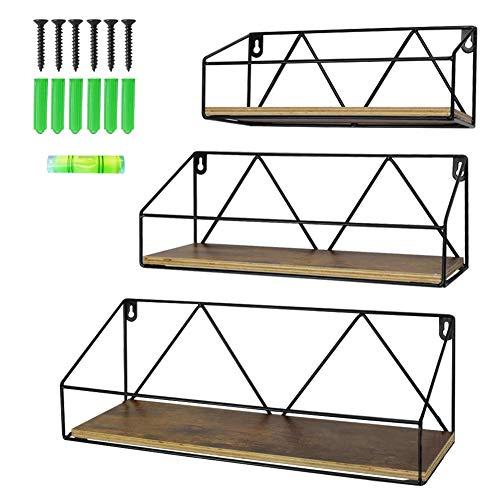 Edenseelake Wandregal, 3 Stück, Holzregal, Wandmontage, für Schlafzimmer, Badezimmer, Wohnzimmer, Küche und Büro