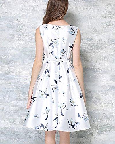 Femmes 50s Robe Rétro Sans Manche Imprimée Fleur Robe de Soirée/Cocktail Avec Blanc