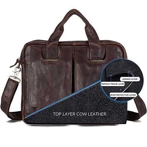 INFLATION Leder Umhängetasche, 4 Farben, Tasche aus Echtem Büffel-Leder im Vintage Look Aktentasche, Schokolade Schokolade