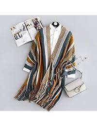 IBUP Européen Et Américain Cravate de Rue Automne Et Hiver Japonais  Imitation Cachemire Couture Écharpe à Rayures Verticales Femme… be50e5e5af1