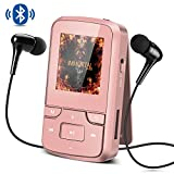 Bluetooth 4.0 8GB MP3 Player mit Clip, FM Radio, Diktiergerät, HD Bildschirm, Lossless Sound, unterstützt bis 128 GB SD Karte von AGPTEK G6, Rosegold