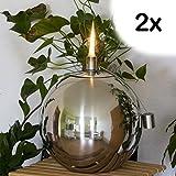 2er SET EDELSTAHL Kugel Öllampe -  12,5 cm - Edelstahlfackel für Garten, Terrasse oder Balkon - Öl Fackel - Ölfackel - Gartenfackel - Kugelleuchte - Gartenkugel