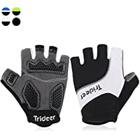 Trideer Full Finger Touch Screen/Half Finger Cycling Gloves Biking Gloves MTB Gloves, Gel Padded, Anti-slip Glove for Road Racing Bicycle, for Men, Women, Ladies, Female (Pair)