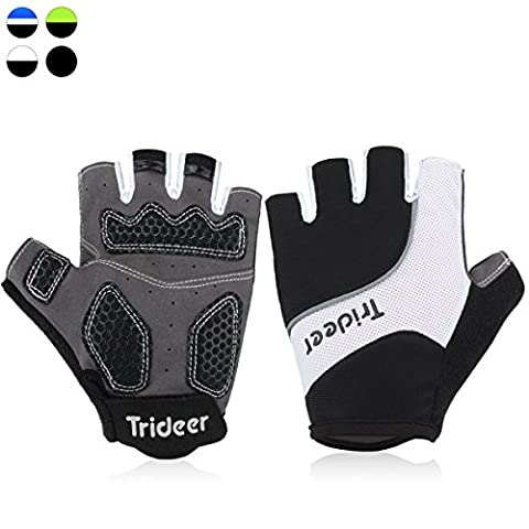 Trideer Half Finger Light Cycling Biking Glove Gym Glove (Black & White, M)
