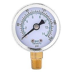 Manometer, 0-200psi 0-14bar Hydraulisches Wassermanometer 40mm Messgerät 1/8