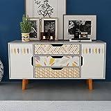 tidyard Mesa para TV con Diseño Escandinavo,Mueble Comedor,Aparador,Mueble Auxiliar,Mesa Baja,Cómoda con 3...