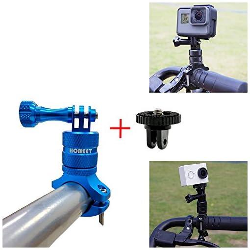 Homeet Supporto Bici Manubrio per Action Cam Attacco in Alluminio Girevole a 360 Gradi per GoPro/SJCAM/Akaso/Garmin Virb/DBPOWER/YI 4K/ QUMOX/Rollei/Apeman, per 20mm-35mm Manubrio【Blu】