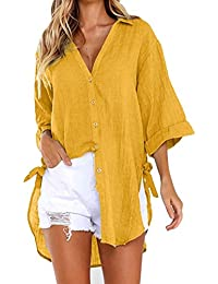 Modaworld _Camisas mujer Elegantes Tallas Grandes Camiseta Casual Tops Blusas de Fiesta Vestido Camisero Largo con