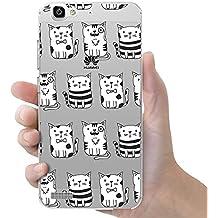 Funda carcasa TPU Transparente para Huawei P8 Lite Smart diseño estampado gatos blancos y negros con pajarita