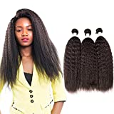 Brazilian Virgin Hair Weave 3 Bundles Kinky Straight Hair Weft 6A Unprocessed Afro Yaki Straight Human Hair Extensions Natural Colour (16 18 20 Inch)