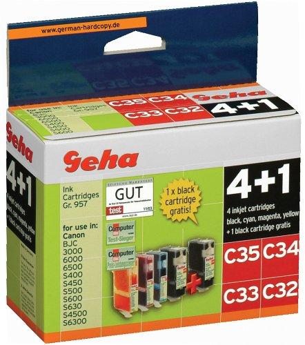 5 Geha Tintenpatronen im Multipack für Canon ersetzt Nr. BCI-3 farbig + schwarz