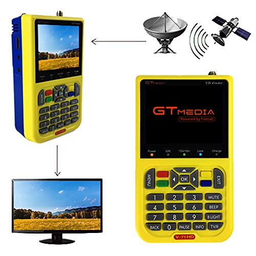GT MEDIA V8 Satelliten Finder Satfinder Satellitenfinder FTA DVB-S2 TV Signal Empfänger, HD 1080P 3,5