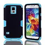 Custodia Samsung Galaxy S5(3 in i), BasicStock Ibrido Antigraffio Difficile PC+Antiurto Silicone Resistente All'impatto Telefono Drop Protettivo Bumper Case Copertura(Nero + Blu)