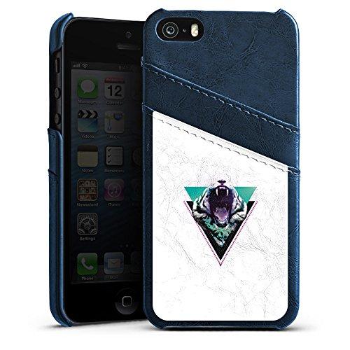 Apple iPhone 5s Housse Étui Protection Coque Tigre des neiges Triangle Triangle Étui en cuir bleu marine