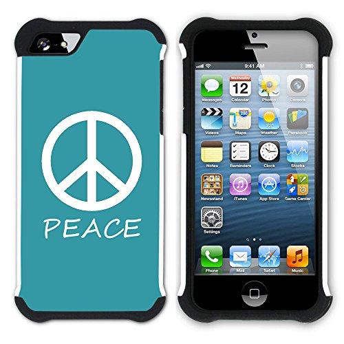 Graphic4You Peace Sign Friedenszeichen Design Hart + Weiche Kratzfeste Hülle Case Schale Tasche Schutzhülle für Apple iPhone SE / 5 / 5S (Aqua Blau) Türkis
