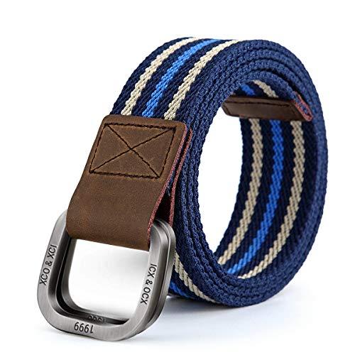 d0fe6ec05f8b7e ITIEZY Stoffgürtel Herren Damen Gürtel Gurtband Leinwand Canvas Belt Mit  Doppel D-Ringe Freizeit Outdoor