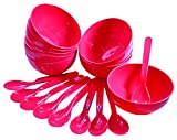 #5: OLIVEWARE ROUND BIG BOWL WITH SPOON 18 PCS SET (MICROWAVE SAFE) (RED)