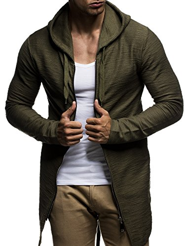 LEIF NELSON Herren oversize Jacke Kapuzenpullover Pullover Hoodie oversize Sweatjacke mit Kapuze Hoody LN6301 S-XXL; Größe S, Khaki