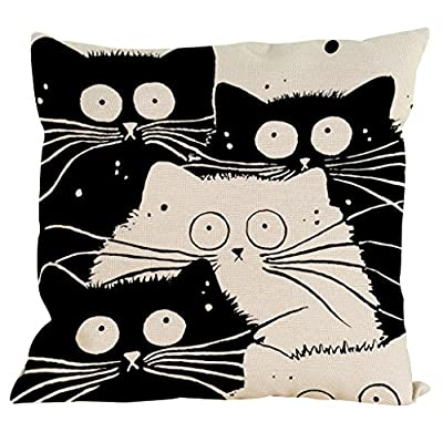 Malloom Pillow Case,Vintage Cat Dog Cotton Pillow Case Sofa Waist Throw Cushion Cover - 45 x 45cm - Home Car Decor