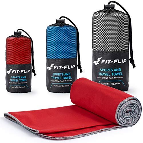 Fit-Flip Rot mit grauen Rand, 1x 200x100cm | reisehandtuch Bambus reisehandtuch groß reisehandtuch klein reisehandtuch leicht