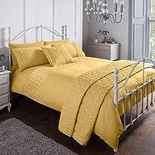 Sleepdown Pinsonic Mustard Geometric Panel Luxury Soft Duvet Cover Quilt Bedding Set With Pillowcases - King (220cm x 230cm)