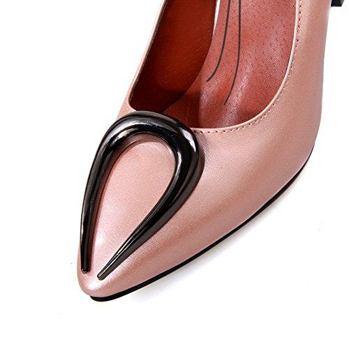 AllhqFashion Femme Tire Pointu Stylet Couleur Unie Chaussures Légeres Rose