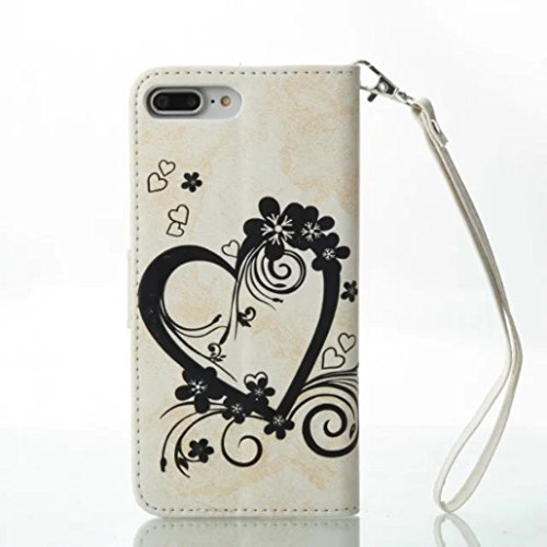 iPhone X Shell, Cool Knurling Love Heart Flower Butterfly Lid Wallet Cover, Hanging Sling Credit ID Card Slot, TAITOU NEW PU Leather Ultralight Awesome Case For iPhone X White BWhite