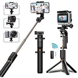 Bastone selfie Matone Selfie Stick Treppiedi con Bluetooth Telecomando [ Rotazione di 360°]Estensibile Selfie Stick per iPhone X/8 Plus/7/6S Plus, Galaxy S9/S9 Plus/S8, Gopro e Altre Fotocamere Action (Nero)