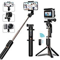 MATONE Perche Selfie Trépied Bluetooth Selfie Stick Monopode Extensible Télécommande, 360°Rotable Bâton de Selfie iPhone X/8/7 Plus/6S/6, Samsung Galaxy S9/S8 Plus, Gopro Caméras d'action