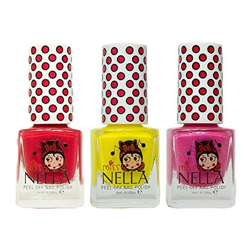 Miss Nella Strawberry Creme, Sun Kissed, Tickle Me Pink spezielle Glitzer Kinder Nagellack mit Peel Off auf Wasserbasis Formel -