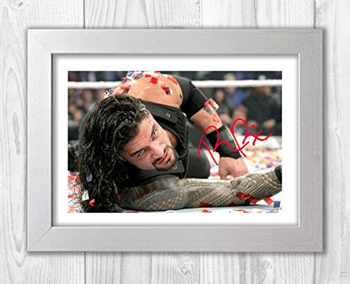 Engravia Digital Roman Reigns WWE Wrestler (2) Poster Signed Autograph Reproduction Photo A4 Print(White Frame)