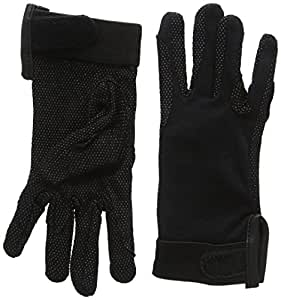cotton pimple gloves velcro wrist - black - extra small