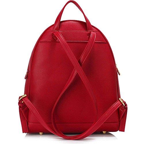 TrendStar Greeniris Damen Mode Rucksack Kunstleder Rucksack für Frauen/Mädchen im Teenageralter B - Rot