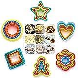 Anokay 32 pezzi Stampini per Biscotti Formine per Biscotti - Tante Forme con Colori Vivaci Formi per Dolci ,Biscotti, Frutte, Torte ect, Formini per Biscotti ( Bambolotto, Stella, Cerchio, Quadrato, Cuore, Fiore )