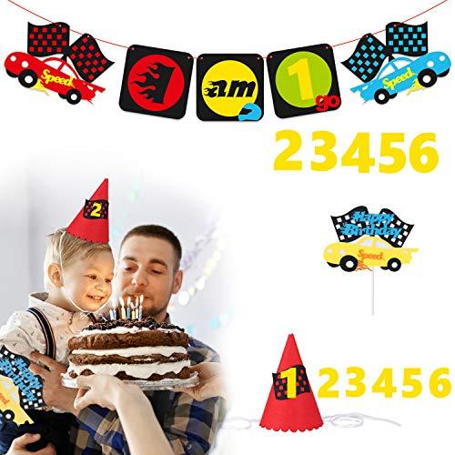 tstags Party ersorgungsmaterialien für 1-6-jährige Kinder, Auto-themenorientierte Banner, Partyhut, Alles Gute zum Geburtstag Cake Topper für Let´s Go Racing Party Deko Kit ()